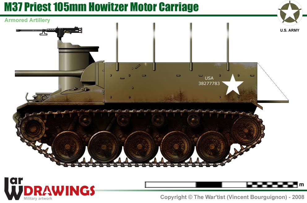 M37 Priest 105 mm Howitzer Motor Carriage