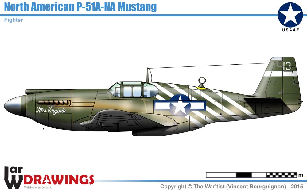 P 51A Mustang on mustang drawings